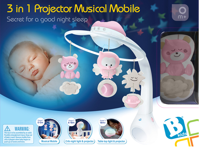 Infantino Infantino - WOM - Musical 3 in 1 projector mobile pink